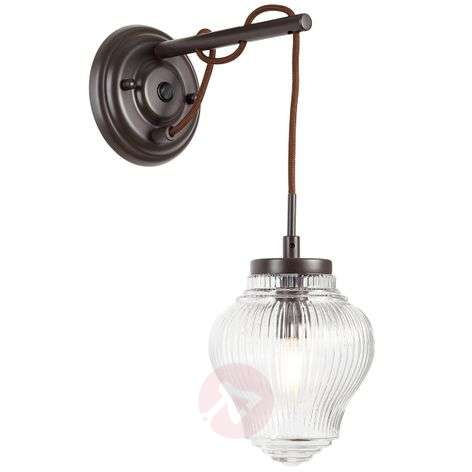 Protruding wall lamp Tanic in brown and clear