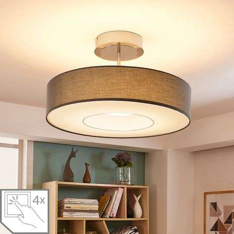 Ragnar - LED ceiling lamp made of grey fabric