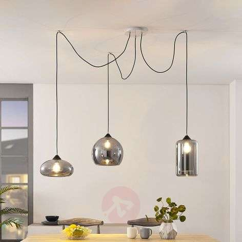 Raquel pendant light, 3-bulb, smoky glass shades