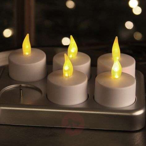 Rechargeable LED tea light T-Light, set of 6