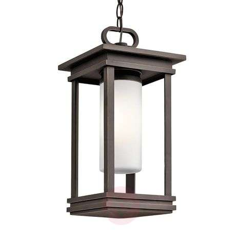 Rectangular South Hope hanging light for outdoors