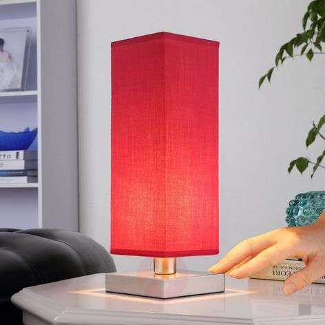 Red bedside table lamp Julina w. fabric lampshade-9620807-31