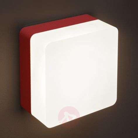 Red painted LED wall light Muffin