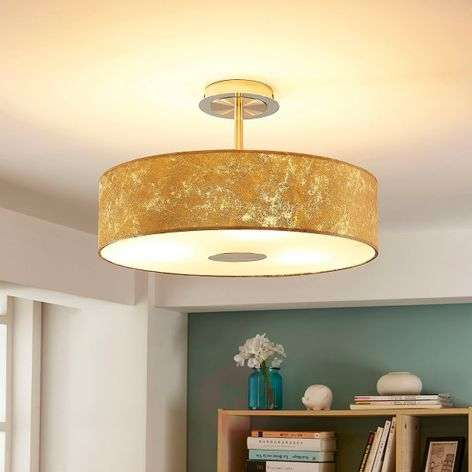 Regine - fabric ceiling light with gold finish
