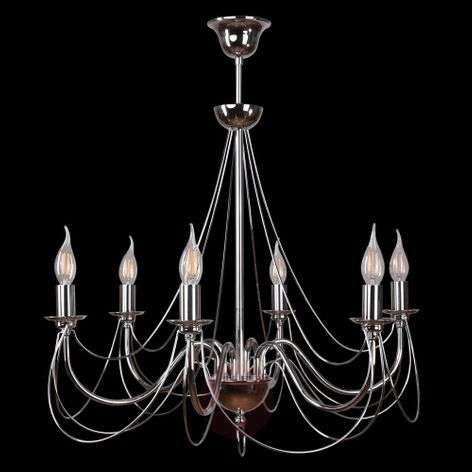 Retro chandelier, silver, 6-bulb 75 cm suspension