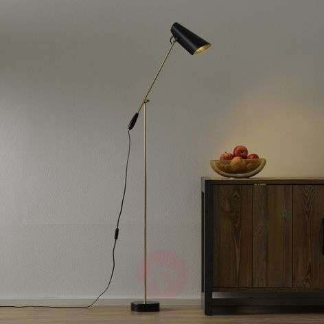 Retro floor lamp Birdy in black/brass