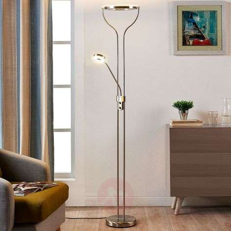 Ring-shaped LED floor lamp Lana with reading light