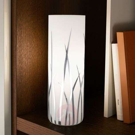 Rivato - cylindrical table lamp with grass pattern