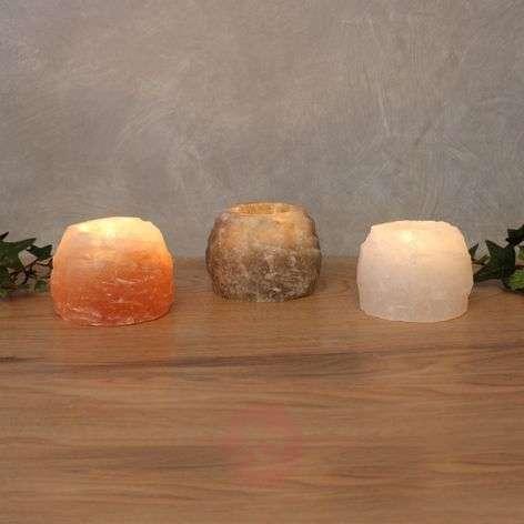 Rock Trio tea light holder set, salt crystal