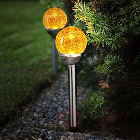 Roma LED solar light with glass sphere, set of 2