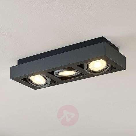 Ronka LED ceiling spotlight GU10 3-bulb dark grey