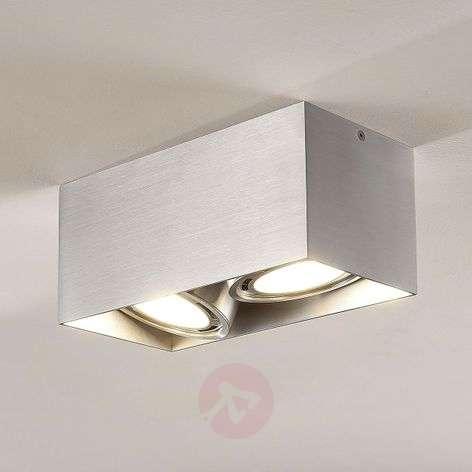 Rosalie LED downlight, 2-bulb, angular, alu