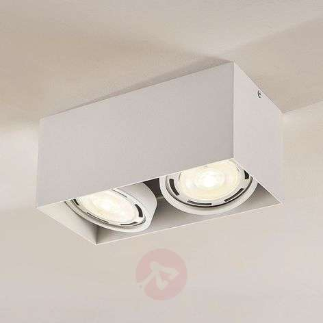 Rosalie LED downlight, 2-bulb, angular, white