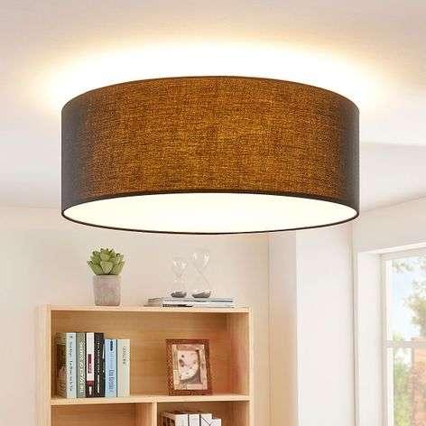 Round, black LED ceiling light Dora, dimmable