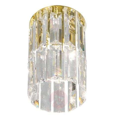 Round crystal ceiling light PRISMA, gold-plated