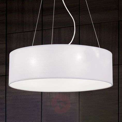 Round fabric pendant light Ufo, white lampshade