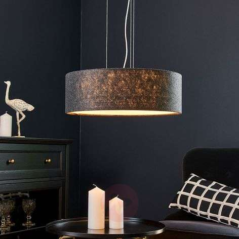 Round felt pendant light Gala, mottled dark grey