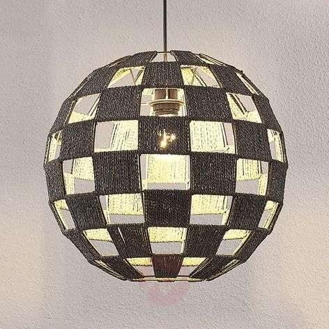 Round hanging lamp Jiliana, grey, chequered