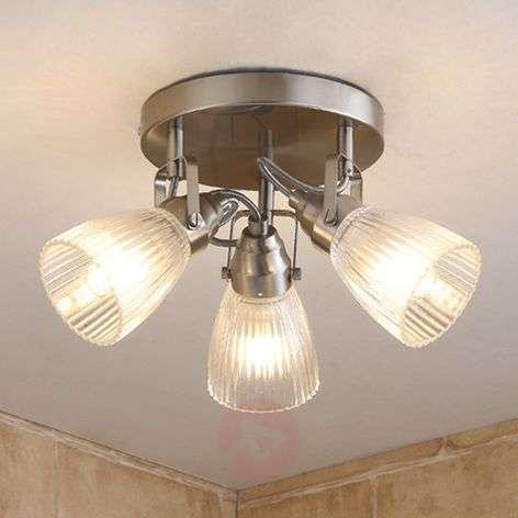 Round LED bathroom ceiling light Kara fluted glass