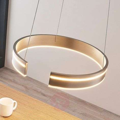 Round LED pendant light Haga, dimmable with switch