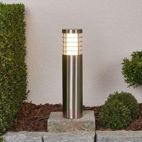 Round LED pillar light Dila, stainless steel