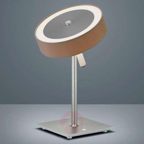 Round LED table lamp Bora with flat lampshade