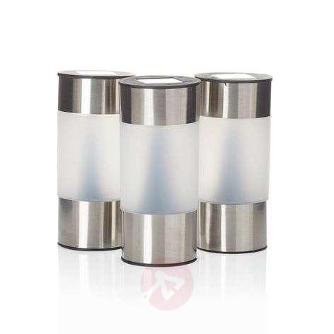 Round solar pillar light Valea, stainless steel-4014998-31