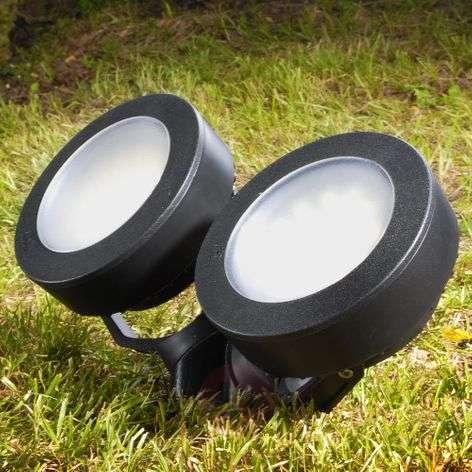 Round Tommy LED ground spike light black 10W 2-blb