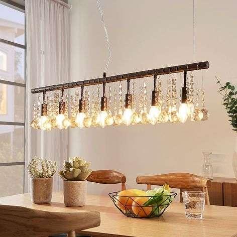 Rust-coloured hanging light Matei, seven-bulb