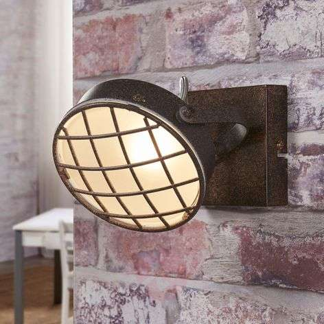 Rust-coloured LED wall light Tamin, industrial