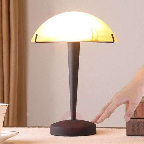 Rust-coloured table lamp Viola w. amber lampshade