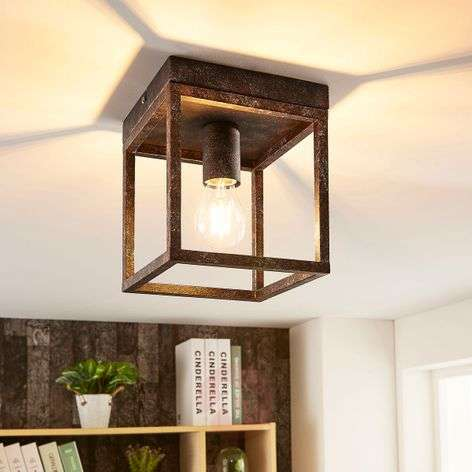 Rustic ceiling light Emin with metal frame