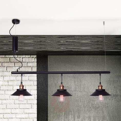 Rustic Orumbo hanging light, three-bulb