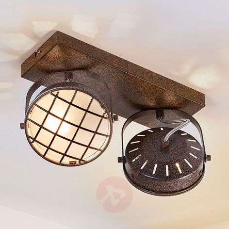 Rusty brown LED ceiling light Tamin, two-bulb