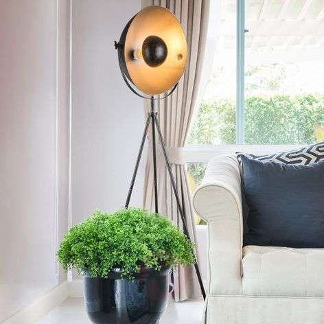 Sandra tripod floor lamp, black and silver