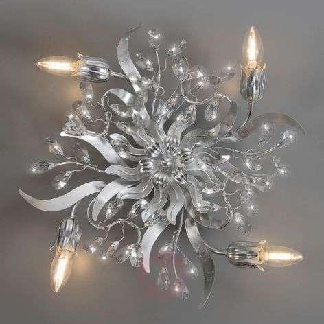 Sara silver leaf ceiling light, four-bulb
