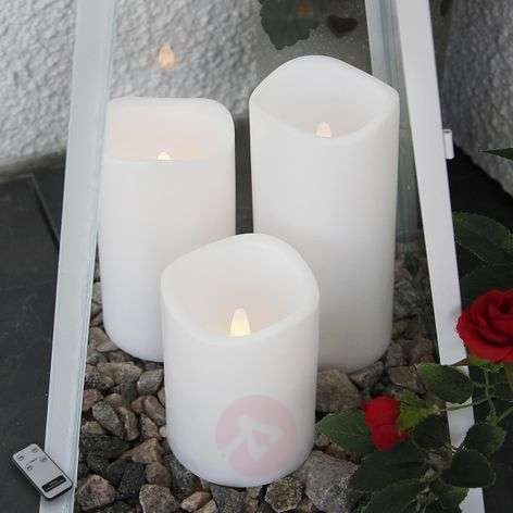 Set of three LED candles for outdoors