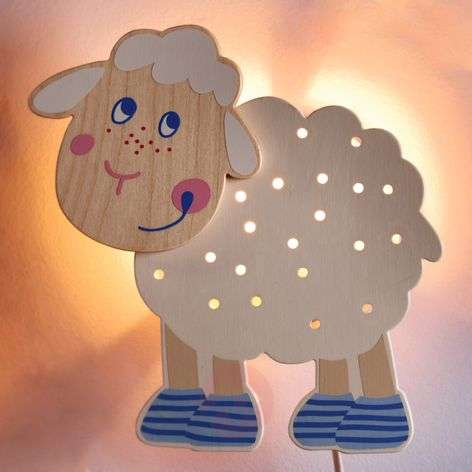 Sheep Wall Light Made of Wood Cute