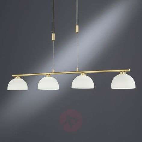 Shine LED hanging lamp four-bulb, brass