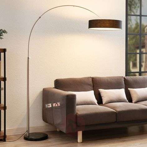 Shing fabric floor lamp with a black lampshade-9620141-39