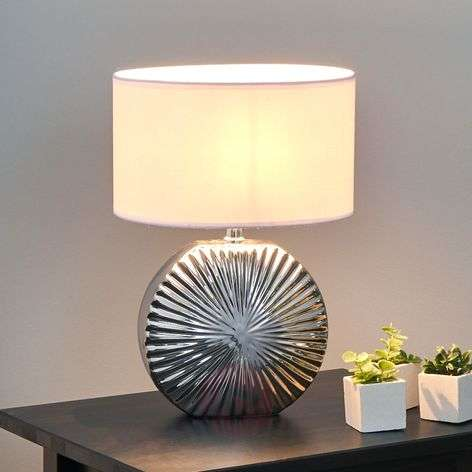 Shot beautiful ceramic table light silver