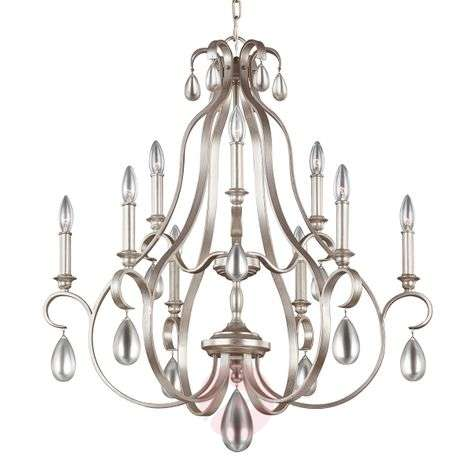 Silver-coloured chandelier Dewitt - nine-bulb