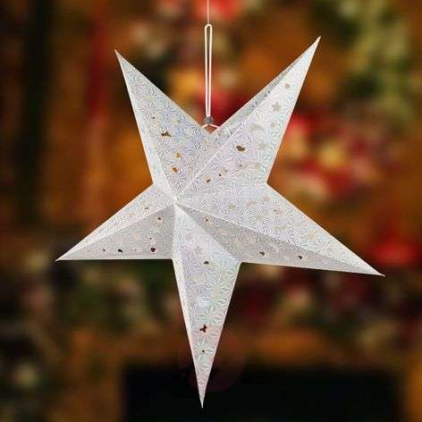 Silver-coloured paper star X-Mas 3D with LEDs