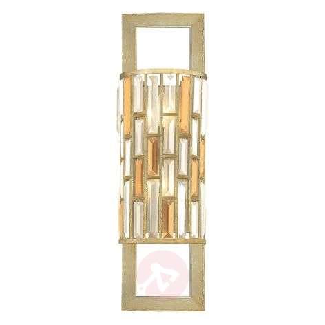 Silver leaf-plated crystal wall light Gemma 2-bulb