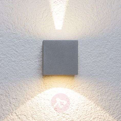 Silver LED outdoor wall light Jarno, cube form