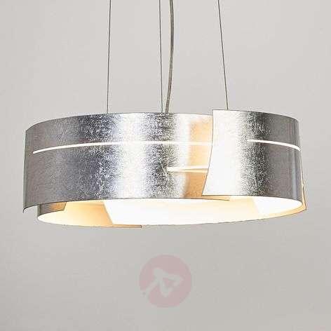 Silver LED pendant light Keyron, modern shape
