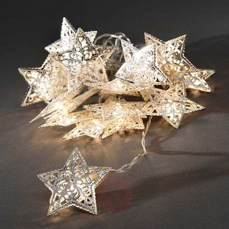 Silver metal star LED string lights, 16-piece