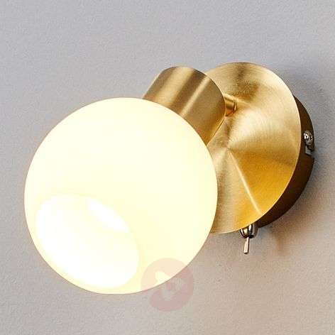 Single bulb LED wall light Elaina, brass