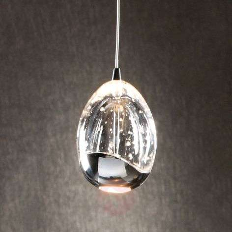 Single-light LED hanging light Rocio in chrome