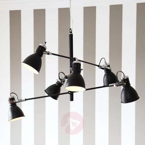 Six-bulb hanging light Pigalle in black